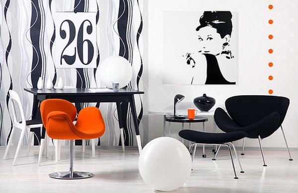 Черно белый интерьер дома или