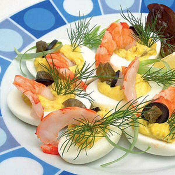 Яйца с креветками