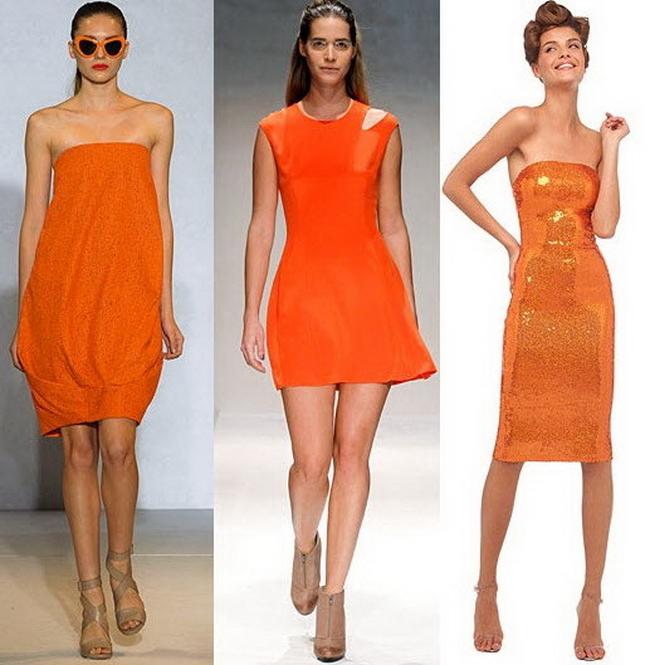 С чем носить оранжевое платье.
