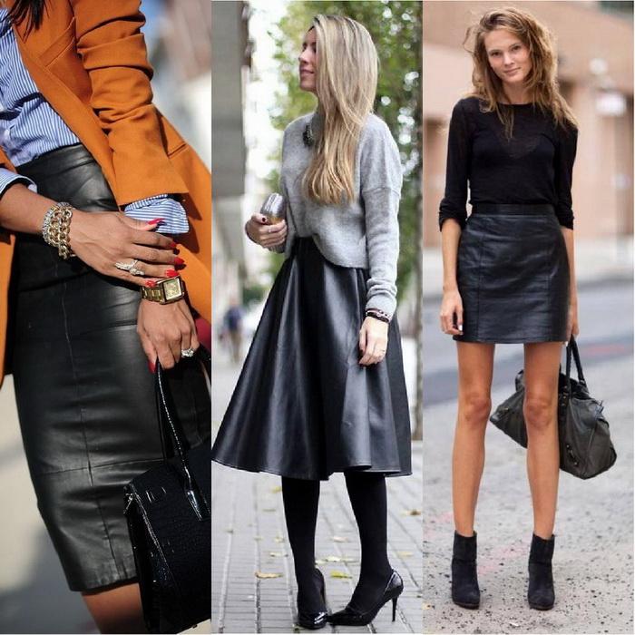 Кожаная юбка - носим красиво! 5567bbd20e1