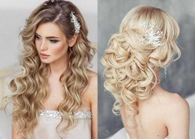 Прически на свадьбу из кудрей на средние волосы