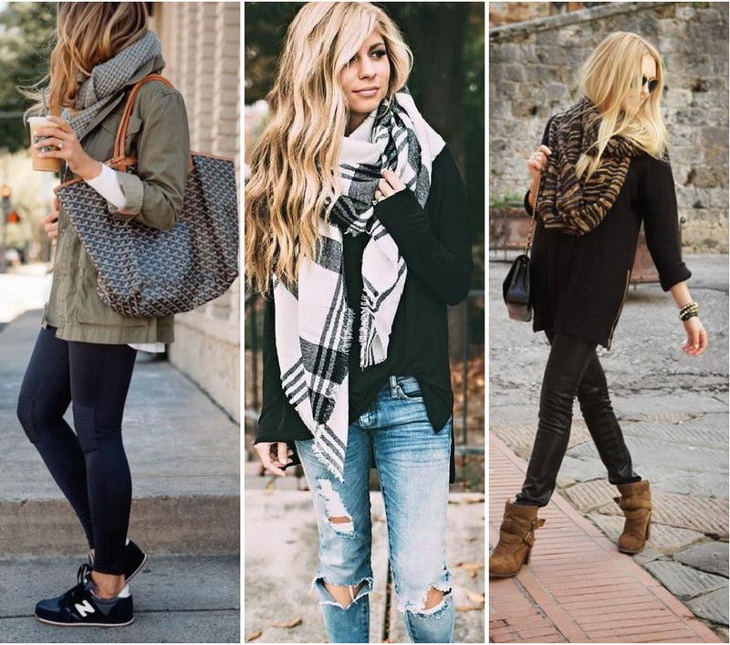 Как завязывать красиво шарф на пальто или куртку?