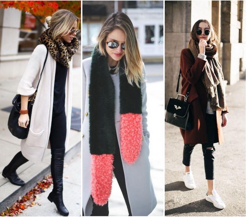 как завязывать платок на пальто без воротника