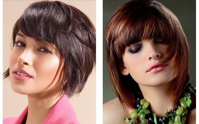 Модная челка на средние волосы