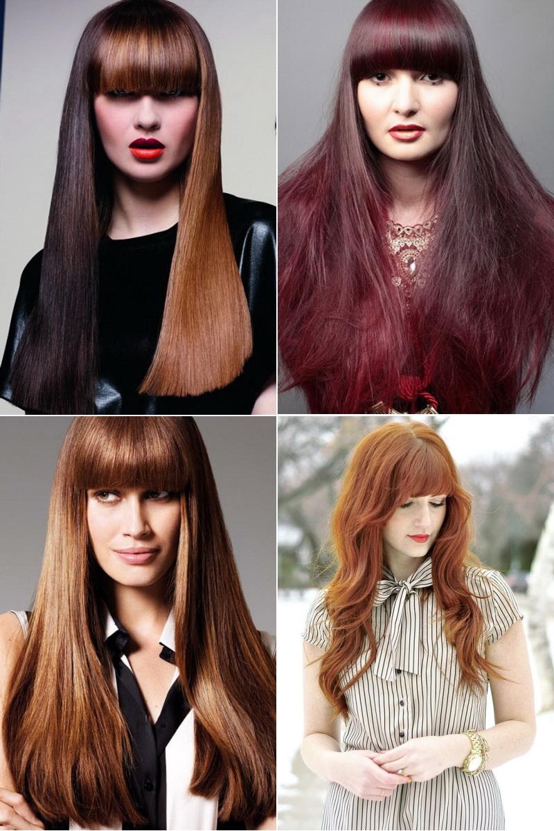 Длинные волосы с челкой - фото