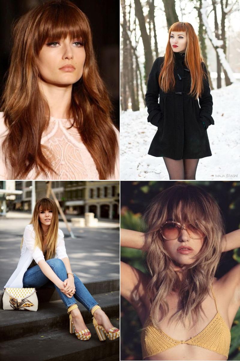 Модные прически с челкой на длинные волосы осень-зима 2019 ... Модные Прически для Длинных Волос с Челкой