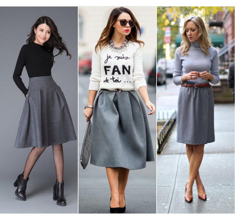 модная серая юбка