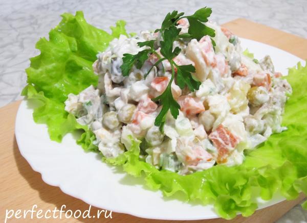 классический рецепт приготовления салата оливье